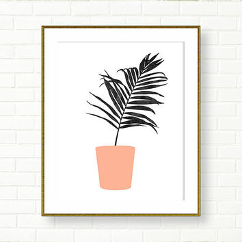 Palm Leaf Print, Poster, Black And White, PRINTABLE, INSTANT DOWNLOAD, Tropical Decor, Peach Pink, Wall Decor, Leaves, Botanical, Vanity