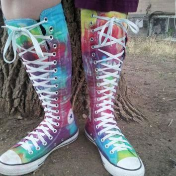 ICIK8NT tie dye ultra high top converse by littlecolormonster