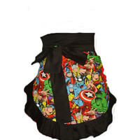 Sassy Super  Hero Sipderman Hulk  Comic book Black Ruffle Woman Half Apron