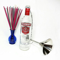 Upcycled Smirnoff Vodka Liquor Bottle Insence Burner/No Mess Recycled Repurposed Liquor Bottle Insence Holder
