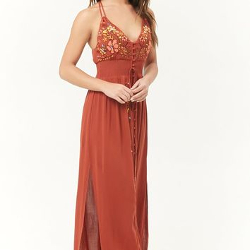 Floral Embroidered Front-Slit Maxi Dress
