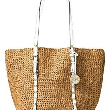 MICHAEL KORS Large Studded Straw Shopper Tote (Natural) Michael Kors bag