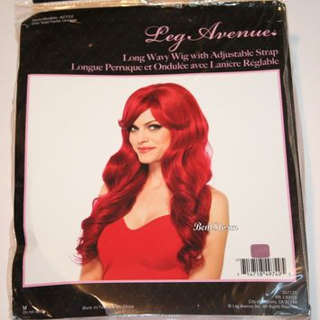 Licensed cool RED Long Wavy Adult WIG for Halloween Costume or Cosplay Licensed Leg Avenue NIP