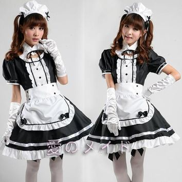 Sexy French Maid Costume Sweet Gothic Lolita Dress Anime Cosplay Sissy Maid Uniform Plus Size Halloween Costumes For Women