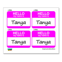 Tanya Hello My Name Is - Sheet of 4 Stickers