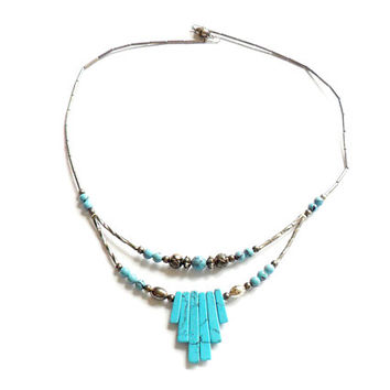 Vintage Faux Turquoise Necklace - Southwestern Boho Style - Liquid Silver - Bib Necklace - Festival Fashion - Blue Stone - Gift For Her