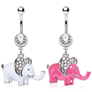 316L Surgical Steel Navel Ring with Elephant Dangle