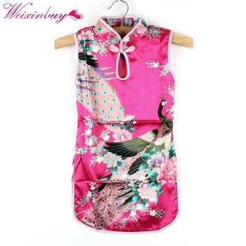 2017 New Summer Chinese Qipao Child Girls Baby Peacock Cheongsam Floral Pattern Dress 2-8Y Clothes Hot