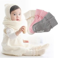 1 Pair Newborn Baby Girls 2 ways Wear Kid Agaric Trim Cuffs Socks Knit Warm Soft Boots Socks LY2