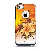 The Coral Colored Floral Pelical Skin for the iPhone 5c OtterBox Commuter Case