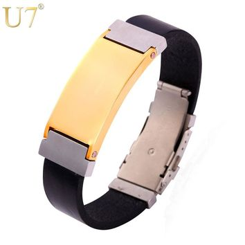 U7 New Hot Leather Bracelet For Men Stainless Steel Jewelry Black Gun Plated Punk Charm Watch Bracelets H866