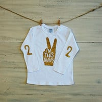 "Toddler Glitter T Shirt I'm This Many Long Sleeve Birthday Tee -  2 Years Old ""Two"" - Sparkle T Shirt for Kids Cake Smash"