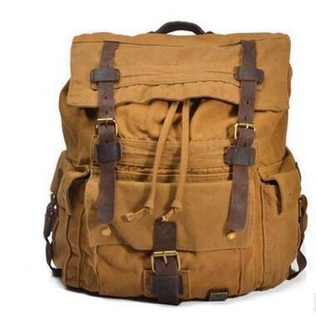 Mens Military Canvas Leather Travel Large Capacity Men Backpack Rucksack School Bag Satchel  BAOK-5205
