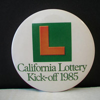 Vintage California Lottery Pinback Kick-off 1985 Button Pin