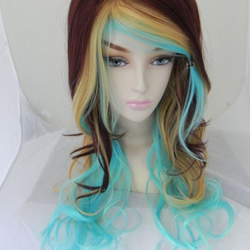 ON SALE Rich Brown, Cream, and Baby Blue / Long Curly Wavy Layered Wig Cosplay Costume Halloween