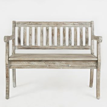 Slat Pattern Wooden Bench With Hidden Storage Space, Washed Gray