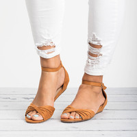 Knotted Peep Toe Wedge Sandals - Tan