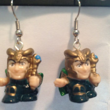 Squinkies Earrings - Marvel Loki - made from re-purposed toys