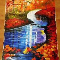 """Autumn Stream — Oil Painting On Canvas By Leonid Afremov  Size: 20""""x36"""""""
