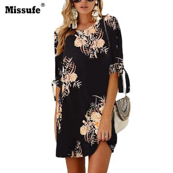 Missufe Bow Tie 3/4 Sleeve Summer Dress Women Casual Style Floral Print Loose Mini Tunic 2018 Beach Vestidos Plus Size 5XL