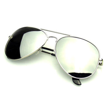 Polarized Full Mirror Silver Aviator Sunglasses