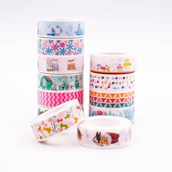 Japanese Washi Tape crafts Mixed Color Pastel Patterns DIY Decorative Adhesive Tape Set Masking Paper Tapes 1PCS/Lot