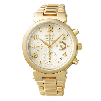 Seiko SSC858 Women's Watch Gold-Tone Solar Chronograph