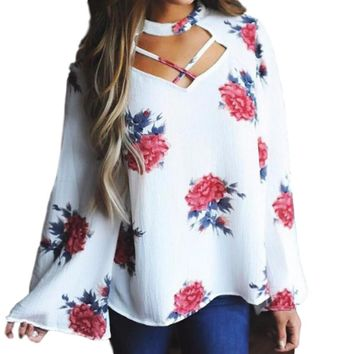 Women's White Rose Long Sleeve Chiffon Criss Cross Front Bell Sleeve Blouse
