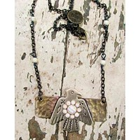Rustic Brass Handcrafted Thunderbird Necklace