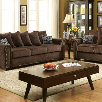 Furniture of america CM6127 2 pc rydel brown chenille fabric sofa and love seat set with nail head trim