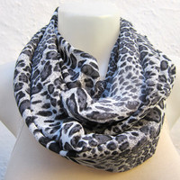 infinity scarf Loop scarf Neckwarmer Necklace scarf Fabric scarf  grey  black white--leopard pattern