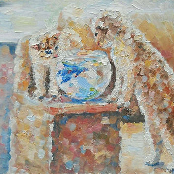 "Kitty picture ""Kitten and Fish"" Oil Painting, Impasto, Canvas, Hardboard, Cat Painting, Kitten, Kitty, Gift Painting, Cat and Fish, Birthday"