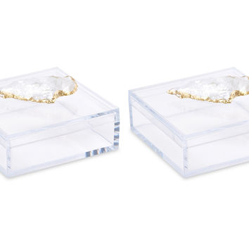 Acrylic Pill Boxes w/ Quartz Arrow, Set of 2, Acrylic / Lucite, Boxes