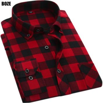 BOZE Men's Casual Plaid Flannel Long Sleeve Shirts