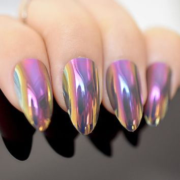 Stilettos Sharp Nails Chrome Chameleon Mirror Metallic False Nail Metal Gold Pink Fake Nails Acrylic Stiletto Nail Art