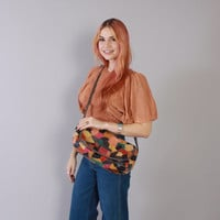 Vintage 70s Boho PURSE / 1970s Colorful Patchwork Leather Custom Made Hippie Shoulder Bag