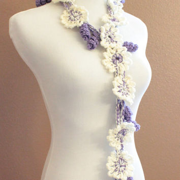 Womens Crochet Flower Scarf Lariat Ivory Cream and Purple Spring Fashion