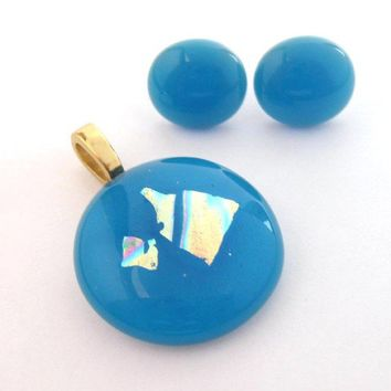 Turquoise Blue Glass Pendant Earring Set, Fused Glass Jewelry Set, Etsy Fashion, Large Gold Bail - Ocean Friend - 1275-60 -2
