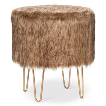 Threshold™ Fur Ottoman with Hairpin Legs