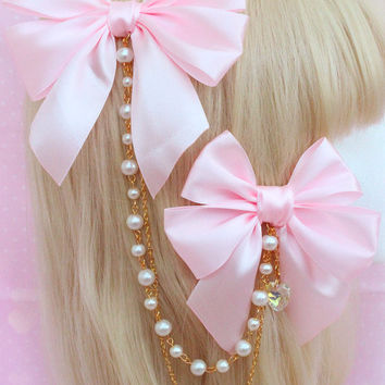 Cascading Satin Bows - Fully Customisable! 12 Colours and 8 Charm Choices Avaliable! Perfect for Lolita!
