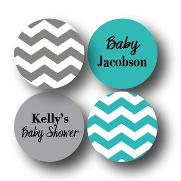 108 Baby Shower Stickers Chocolate Candy Labels Baby Boy Aqua Blue and Grey Chevron Baby Shower Party Favor Stickers Party Supplies- 006