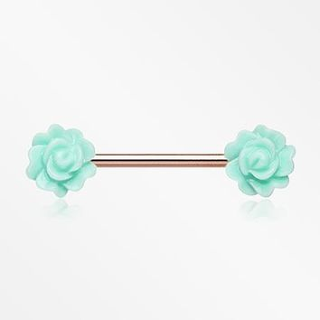 A Pair of Rose Gold Acrylic Rose Blossom Nipple Barbell Ring