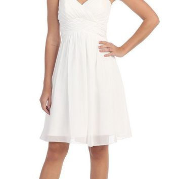 Short Knee Length Bridesmaid Dress White Chiffon Strapless