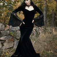 Black Velvet Dark Queen Morticia Addams Gothic Victorian Dress - Devilnight.co.uk