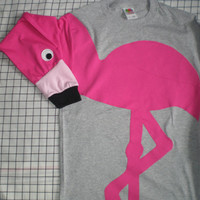 Flamingo shirt long sleeve tshirt with flamingo applique Size Medium