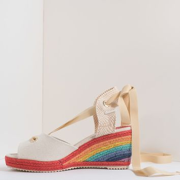Miss L Fire Beige & Rainbow Wedge Ribbon Martha Sandal