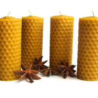 Set of 4 hand rolled 100% pure beeswax candles - Advent wreath candles - Rolled pillar candle set - Gift wrapped - Eco friendly gift