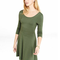Green Scoop Back Skater Dress from EXPRESS