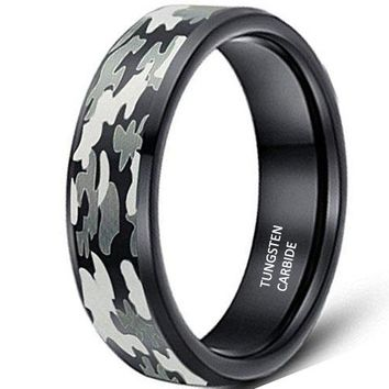 CERTIFIED 8mm Black Camouflage Hunting Tungsten Carbide Ring Camo Polished Beveled Edge Wedding Band