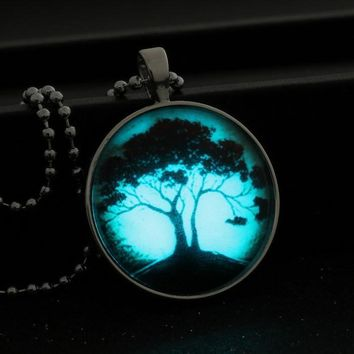 in the dark necklace Stainless Steel Chain Luminous necklace women jewelry Glowing Pendant Necklace tree of life glass glow